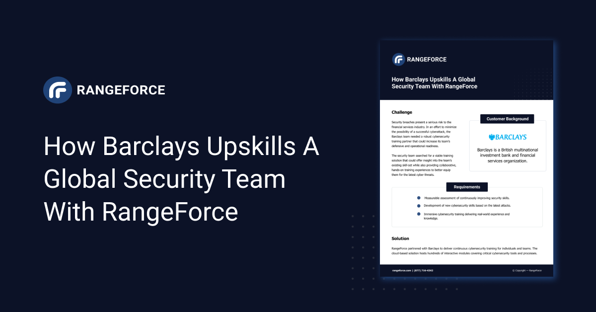 How Barclays Upskills a Global Security Team with RangeForce