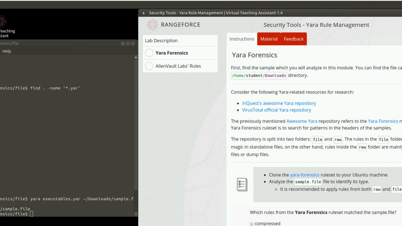 RangeForce Intros Hands-on YARA Training Modules